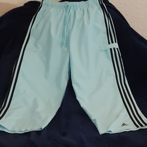 Adidas track pants half legged baby blue and black